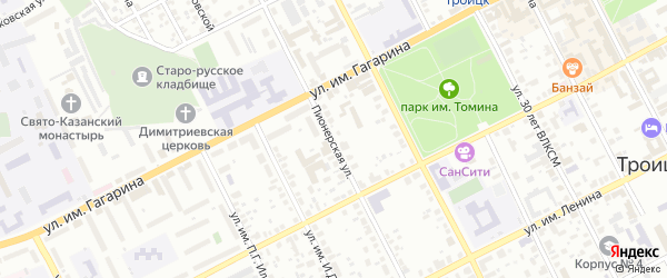Пионерская улица на карте Троицка с номерами домов