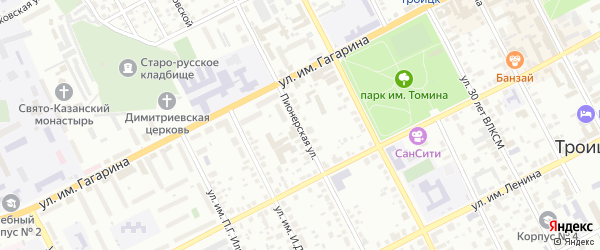 Пионерская улица на карте Красногорского поселка с номерами домов