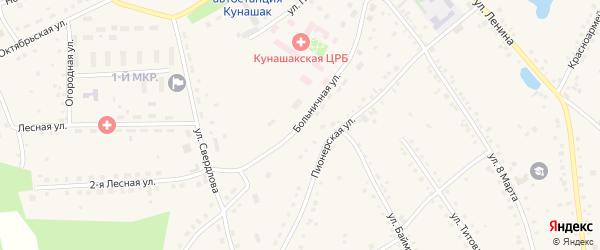 Больничная улица на карте села Кунашака с номерами домов