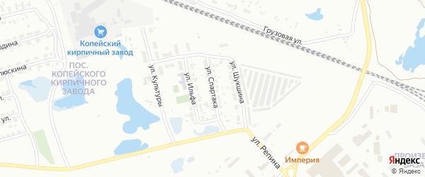 Улица Спартака на карте Копейска с номерами домов