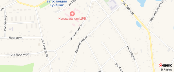 Пионерская улица на карте села Кунашака с номерами домов