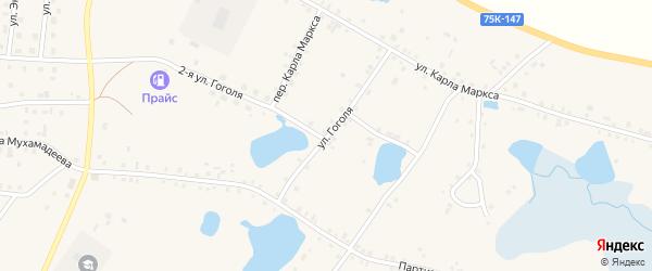 Улица Гоголя на карте села Кунашака с номерами домов