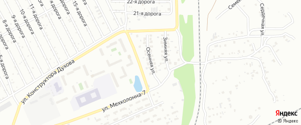 Осенняя улица на карте Челябинска с номерами домов