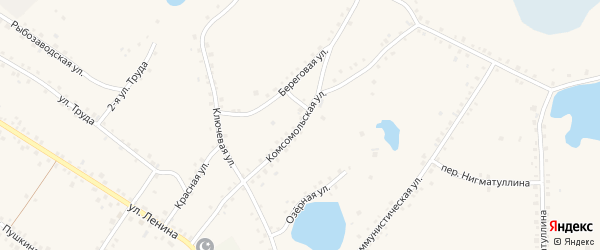 Комсомольская улица на карте села Кунашака с номерами домов