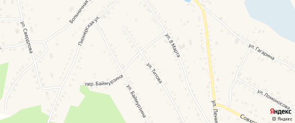 Улица Титова на карте села Кунашака с номерами домов