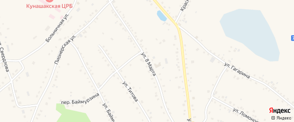 Улица 8 Марта на карте железнодорожной станции Муслюмово с номерами домов