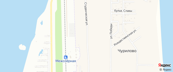 Студенческая улица на карте деревни Чурилово с номерами домов