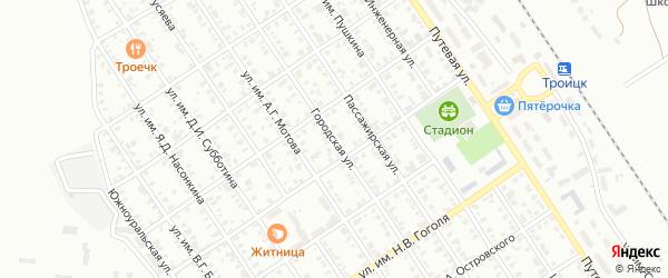 Городская улица на карте Троицка с номерами домов