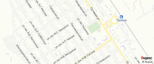 Пассажирская улица на карте Троицка с номерами домов