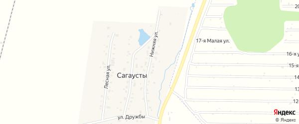 Нижняя улица на карте поселка Сагаусты с номерами домов