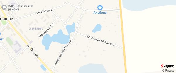 Красноармейская улица на карте села Кунашака с номерами домов