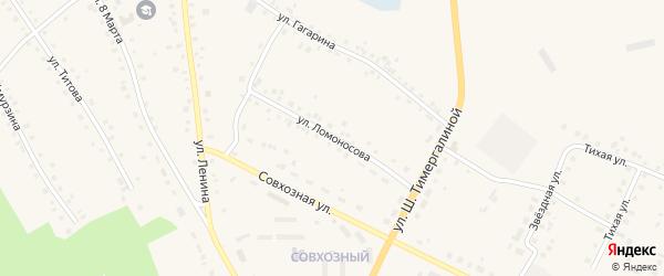 Улица Ломоносова на карте села Кунашака с номерами домов