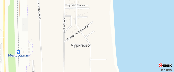 Зеленый переулок на карте деревни Чурилово с номерами домов