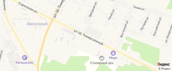Совхозная улица на карте села Кунашака с номерами домов