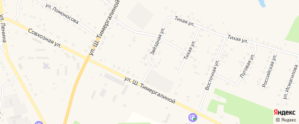 Звездная улица на карте села Кунашака с номерами домов