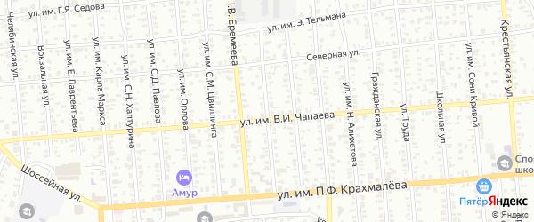 Целинная улица на карте Троицка с номерами домов