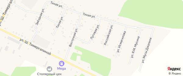 Луговая улица на карте села Кунашака с номерами домов