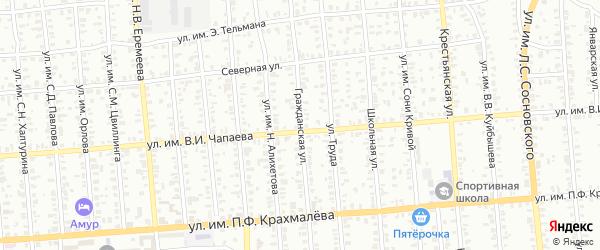 Гражданская улица на карте Троицка с номерами домов