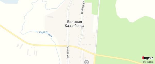 Речная улица на карте деревни Большая Казакбаева с номерами домов