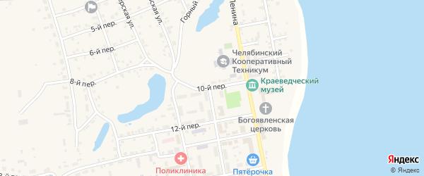 10-й переулок на карте села Еткуль с номерами домов