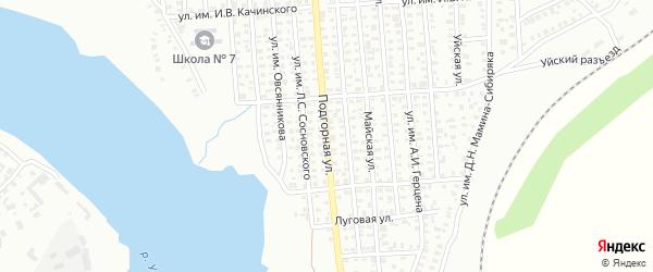 Подгорная улица на карте Троицка с номерами домов