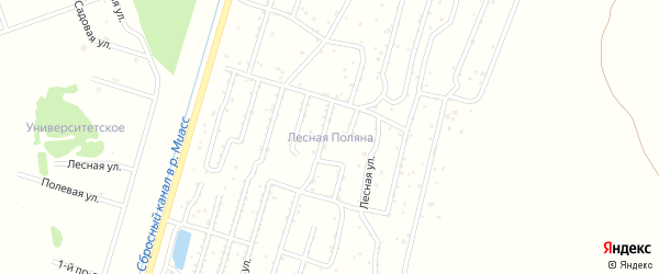 Восточная улица на карте садового товарищества Лесная поляна с номерами домов