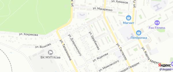 Переулок Щербакова на карте Копейска с номерами домов