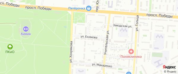 Улица Екимова на карте Копейска с номерами домов
