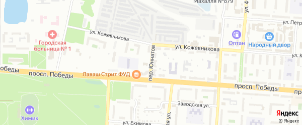 Переулок Юннатов на карте Копейска с номерами домов