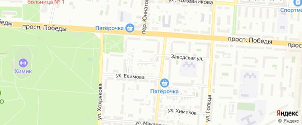 Учительский переулок на карте Копейска с номерами домов