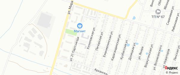 Кизиловская улица на карте Копейска с номерами домов
