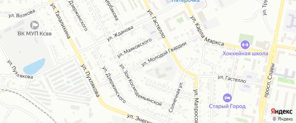 Улица Молодой Гвардии на карте Копейска с номерами домов