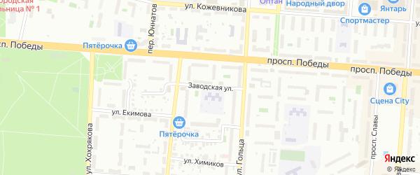 Заводская улица на карте Копейска с номерами домов