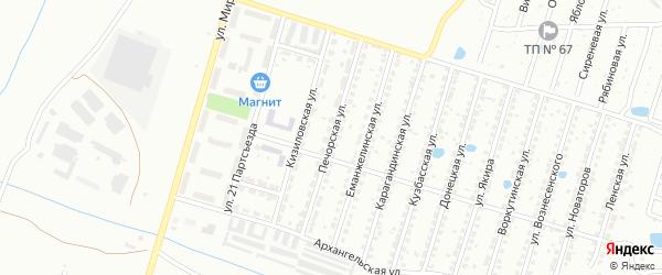 Печорская улица на карте Копейска с номерами домов