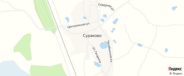 Карта деревни Сураково в Челябинской области с улицами и номерами домов