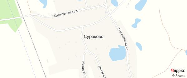 Улица Бабушкина на карте деревни Сураково с номерами домов