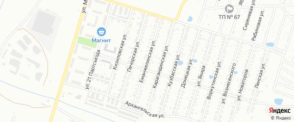 Еманжелинская улица на карте Копейска с номерами домов