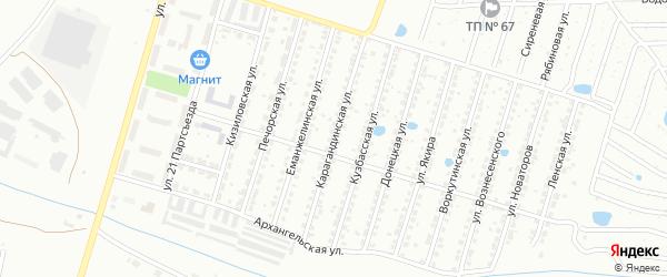 Карагандинская улица на карте Копейска с номерами домов