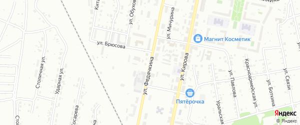 Улица Федячкина на карте Копейска с номерами домов
