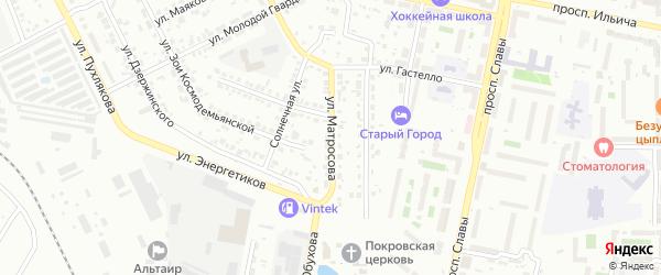 Улица Матросова на карте Копейска с номерами домов