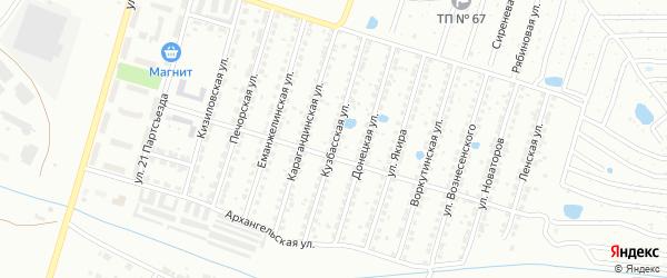 Кузбасская улица на карте Копейска с номерами домов