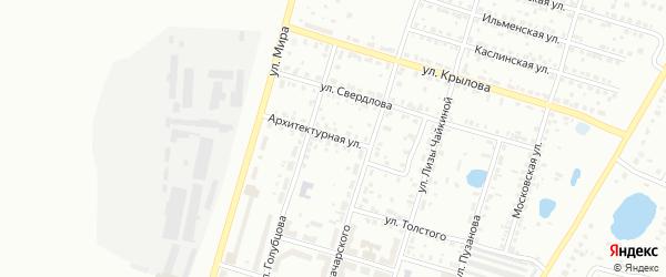 Архитектурная улица на карте Копейска с номерами домов