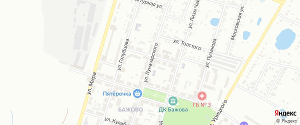 Улица Луначарского на карте Копейска с номерами домов