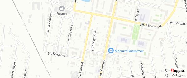 Улица Мичурина на карте Копейска с номерами домов