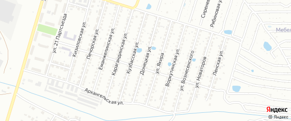 Донецкая улица на карте Копейска с номерами домов