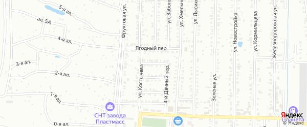 Широкий 4-й переулок на карте Копейска с номерами домов