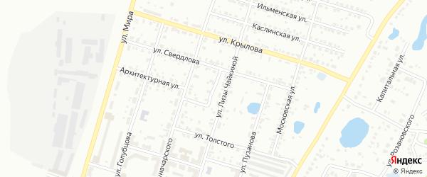 Переулок Луначарского на карте Копейска с номерами домов