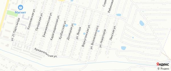 Воркутинская улица на карте Челябинска с номерами домов