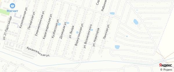 Улица Вознесенского на карте Копейска с номерами домов