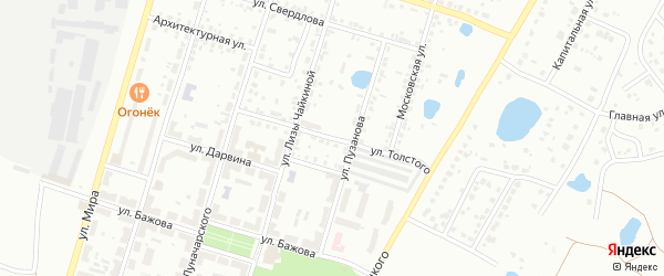 Улица Толстого на карте Копейска с номерами домов